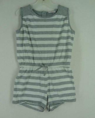 HANNA ANDERSSON 120 6 7 8 YRS. Romper One Pc. Gray White Stripe Summer