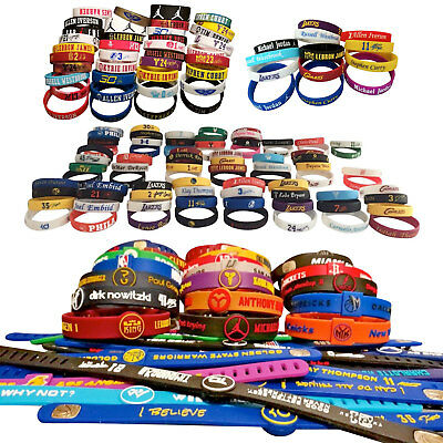 Sports Silicone Wristband NBA Stars Reversible Basketball Band Logos Signatures