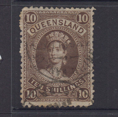 Queensland 1882 10/- Brown LARGE CHALON -w5-p12-SG155 Cat £50 FU