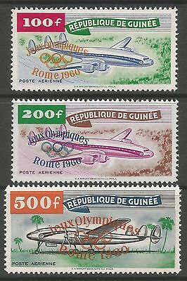 GUINEA 1960. Rome Olympics Ovpt on Airmail Set. SG: 250/52. Mint Lightly Hinged