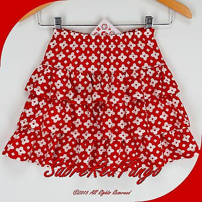 Nwt Hanna Andersson Ruffle Twirl Skirt Apple Red Floral 130 8