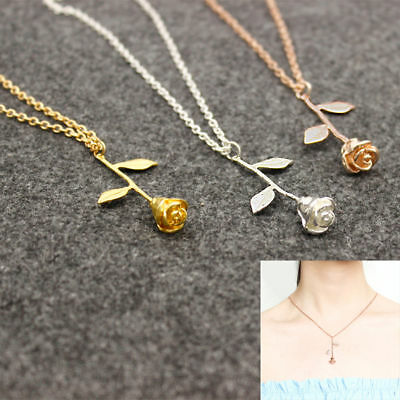 Women Fashion Rose Flower Charm Necklace Pendant Rose Gold Silver Jewelry Gift