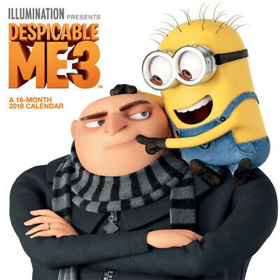 Despicable Me 3 Movie Animated Art 16 Month 2018 Mini Wall Calendar NEW UNUSED