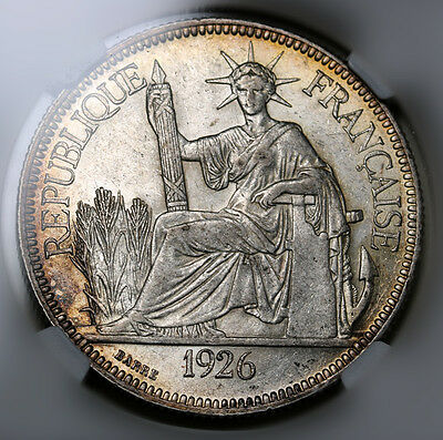 1926 French Indo- China Piastre KM# 5a.1 Silver Coin NGC AU58 Rare