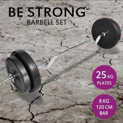 vidaXL Barbell Weight Lifting Set 30kg Dumbbell Plate Gym Home Hand Exercise