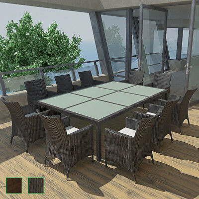 vidaXL 21PC Outdoor Wicker Furniture Dining Set Patio Rattan Table Chairs