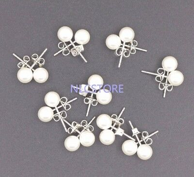 9 pair 6mm round Acrylic white pearl Alloy stud earring jewelry Wholesale lot