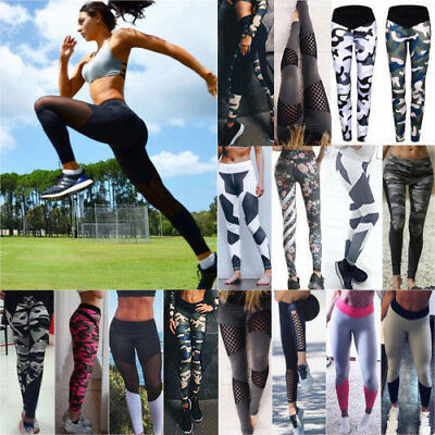 Women High Wasit Jogging Yoga Fitness Leggings Gym Sports Pants Stretch Trousers