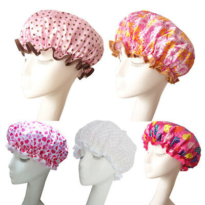 Women Shower Caps Colorful Bath Shower Hair Cover Adults Waterproof Bathing Hat
