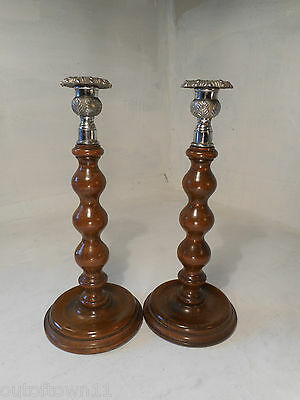 Vintage pair of Oak  Candlesticks  ref 2672