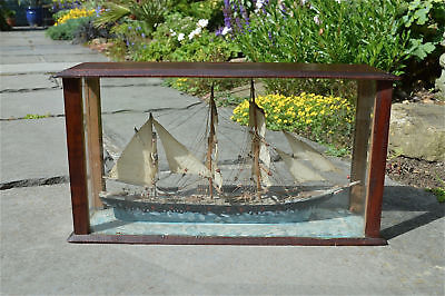 Antique scratchbuilt model sailing ship in mahogany case handmade boat model