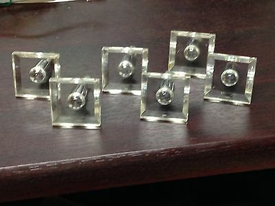 6 Antique Vintage Mid Century Lucite Furniture Pull Knob Parts