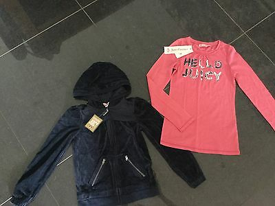 NWT Juicy Couture New & Genuine Blue Velour Hoody & Pink T-Shirt Girls Age 8