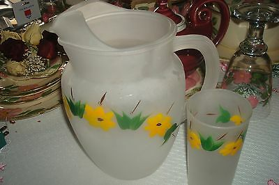 Vintage Frosted 2 qt pitcher & 1 glass   Yellow Flowers