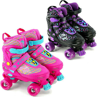 Kids Adjustable 4 Wheel Quad Roller Skates Boots Childrens Rollers