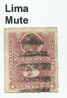 CHILE-PACIFIC WAR. 5c Rose. SG: 58. Cancelled Lima 6 Bar Mute Cancel, Vertically