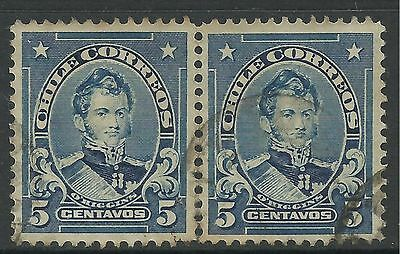 CHILE. 1911. 5c Blue, Pair. Variety Coarse Impression from Badly Cleaned Plate