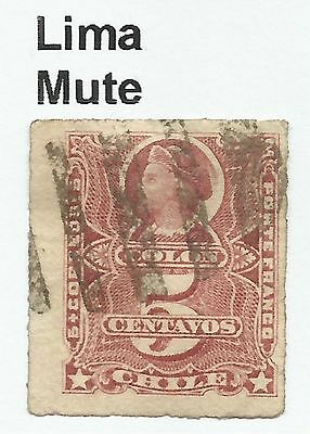 CHILE-PACIFIC WAR. 5c Rose. SG: 58. Cancelled Lima 6 Bar Mute Cancel, Horizontal