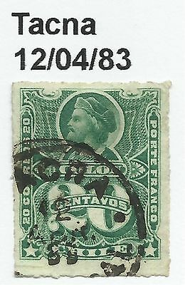 """CHILE-PACIFIC WAR. 20c Green. SG: 53. Cancelled """"Tacna"""", Dated 12/04/1883"""