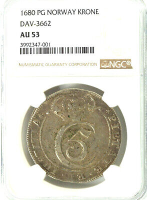 1680 NORWAY  AU  53 NGC Silver Coin KRONE Dav 3662