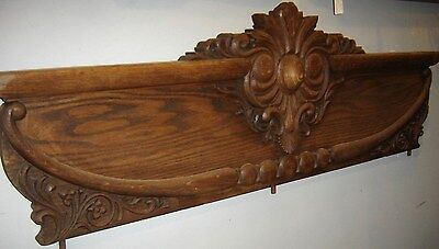 Antique Oak Pediment Top Knot Heavy Applied Carving. 8241