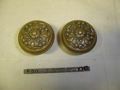 Antique Pair Heavily Embossed Brass Victorian Door Knobs   w/ Nice Patina  7091