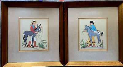 Pair of H. BEGAY Silk Screens Boy w/Burro & Girl w/Colt Signed and Framed