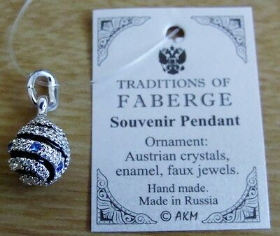 Russian old style w/ crystals hand made egg enameled silvery mini pendant +chain