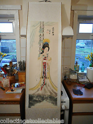 Signed  Vintage Chinese Ink Painting Scroll Beautiful Chinese Lady