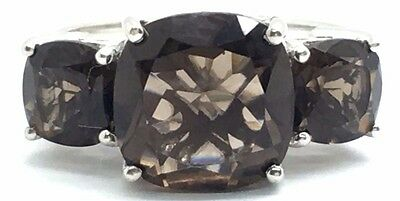 Sterling Silver Two Tone Cushion Faceted Smoky Brown Topaz Accent Cocktail Ring