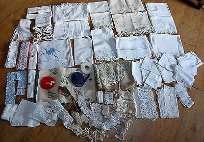 Large LOT Antique French Lace Trim Yardage Linen Embroidery Ribbon Handmade 6lbs