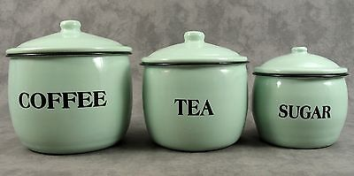 French Country Jadeite Green Enamel 3 Piece Coffee Tea Sugar Canister Set