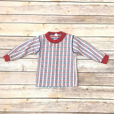 SHIRTEES Boys Size 18m VINTAGE Blue Red White Long Sleeved Shirt