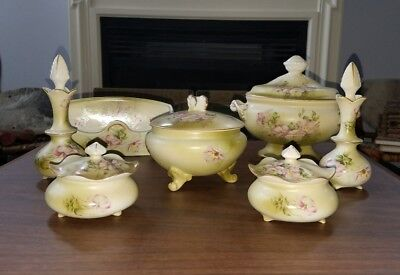 BEAUTIFUL Vintage 7 Piece NIPPON Roses Hand Painted Dresser DESK Set Gold - RARE