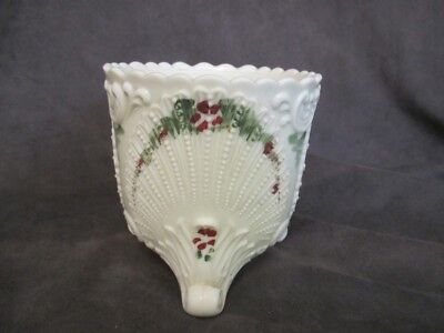 E7 Antique Custard Glass Handpainted Footed Sugar Bowl Shell Pattern