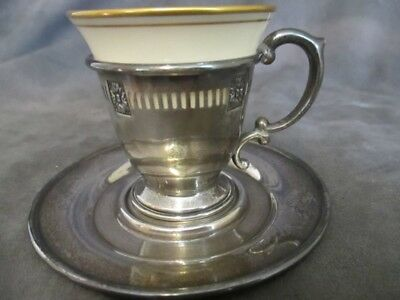 A7  Sterling Demitasse Cup & Saucer Liner w/ Lenox China Insert