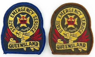 2 VERSIONS QUEENSLAND SES QLD STATE EMERGENCY SERVICE PATCHES. 8 x 7cms.