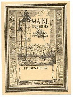 Bookplate Maine Daughters of the American Revolution DAR Vintage Book Plate ME