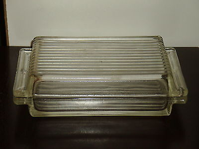 "Vintage Unmarked Ribbed Clear Glass Refrigerator Butter Container 6.5 x 4"" x 2"""