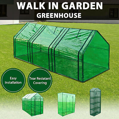 4 Models Garden Greenhouse PVC Cover Walk in Shade Plant Hot House Storage Green