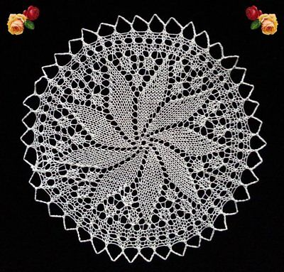 Vintage Hand Knitted Doily Round Scallop Cream Fine Handmade Lace