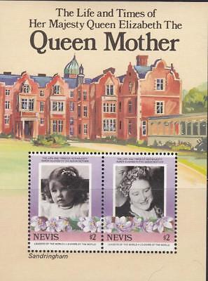 Tr63 - Nevis Royalty Life And Times Of Queen Mother Sandringham Castle S/s Mnh