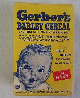 Vintage Gerber's Barley Cereal For Baby Yellow Empty Box 2 5/8""