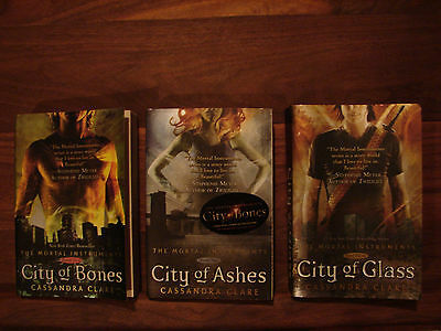 Cassandra Clare Mortal Instruments books 1 - 2 - 3 City of Bones Ashes Glass