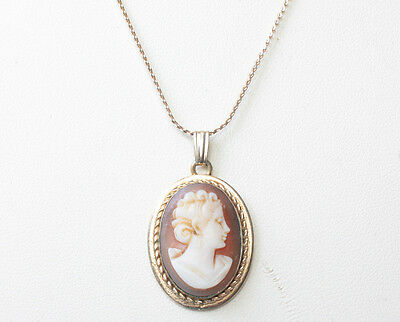 Gold Filled Carved Shell Cameo Pendant Necklace 18 Inch Chain 1930s 1940s