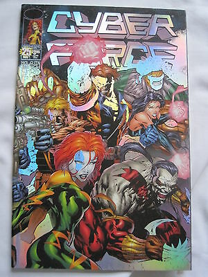 Cyber Force # 25. Metallic Foil Enhanced Cover. Holguin,finch, Chun. Image.1996