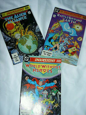 INVASION :complete 3 ISSUE G/S SERIES BY McFARLANE etc + PROMO DP PACK. DC.1988