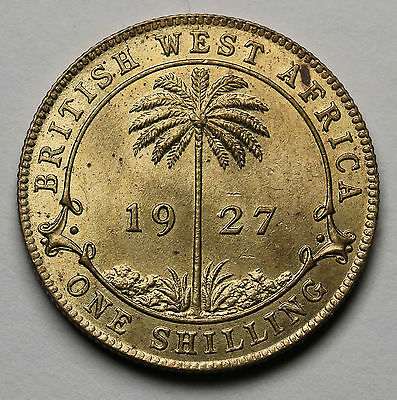 1927 British West Africa Shilling KM# 12a George V Coin UNC + Lustre