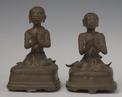 19th Century, Mandalay, A Pair of Antique Burmese Bronze Seated Disciples