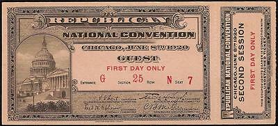 Unc 1920 Republican National Convention Guest Ticket Chicago With Coupon